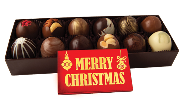 12 pc. Truffle Collection with Merry Christmas Bar