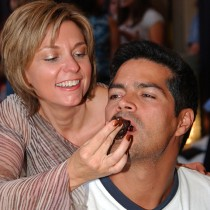 <h4>Esai Morales & Cathy Brand-Beere</h4>Esai Morales let Cathy Brand-Beere feed him our most popular piece from the Classic Collection, Dark Raspberries & Cream.